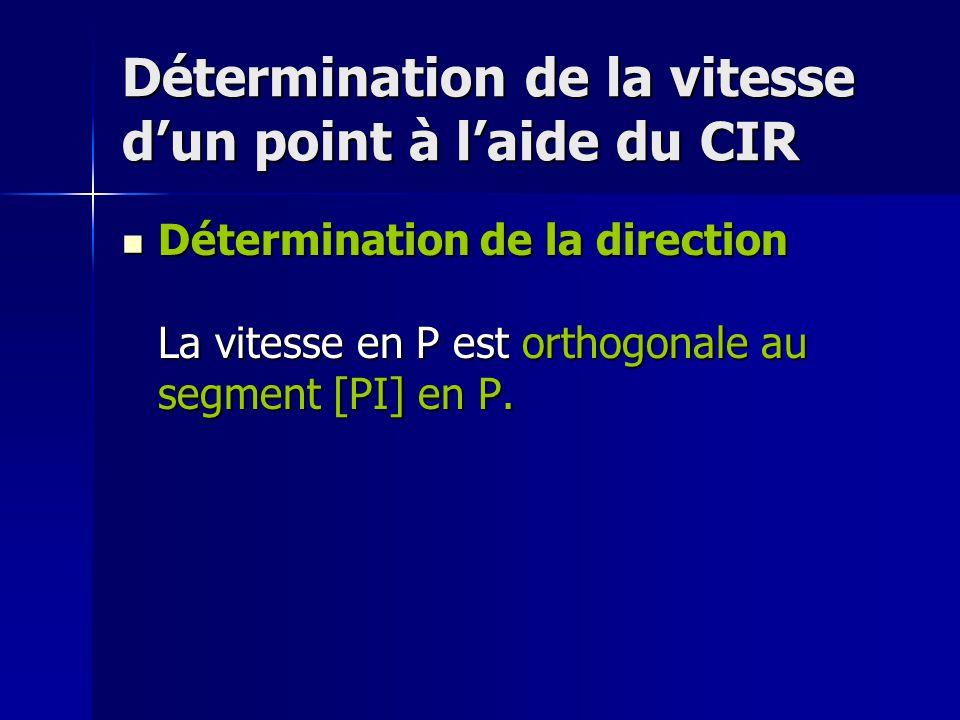 Détermination de la vitesse d'un point à l'aide du CIR Détermination de la direction La vitesse en P est orthogonale au segment [PI] en P.