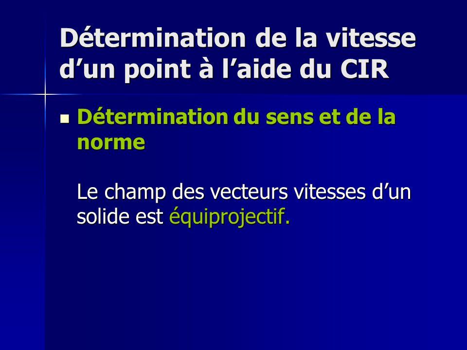 Détermination de la vitesse d'un point à l'aide du CIR Détermination du sens et de la norme Le champ des vecteurs vitesses d'un solide est équiprojectif.
