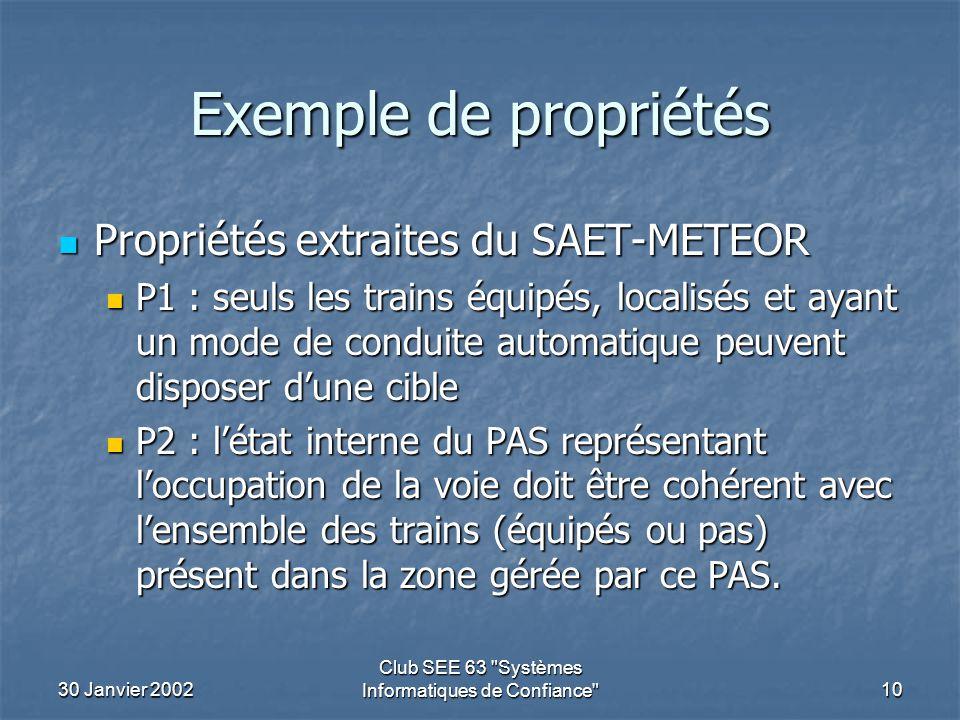 30 Janvier 2002 Club SEE 63 Systèmes Informatiques de Confiance 10 Exemple de propriétés Propriétés extraites du SAET-METEOR Propriétés extraites du SAET-METEOR P1 : seuls les trains équipés, localisés et ayant un mode de conduite automatique peuvent disposer d'une cible P1 : seuls les trains équipés, localisés et ayant un mode de conduite automatique peuvent disposer d'une cible P2 : l'état interne du PAS représentant l'occupation de la voie doit être cohérent avec l'ensemble des trains (équipés ou pas) présent dans la zone gérée par ce PAS.
