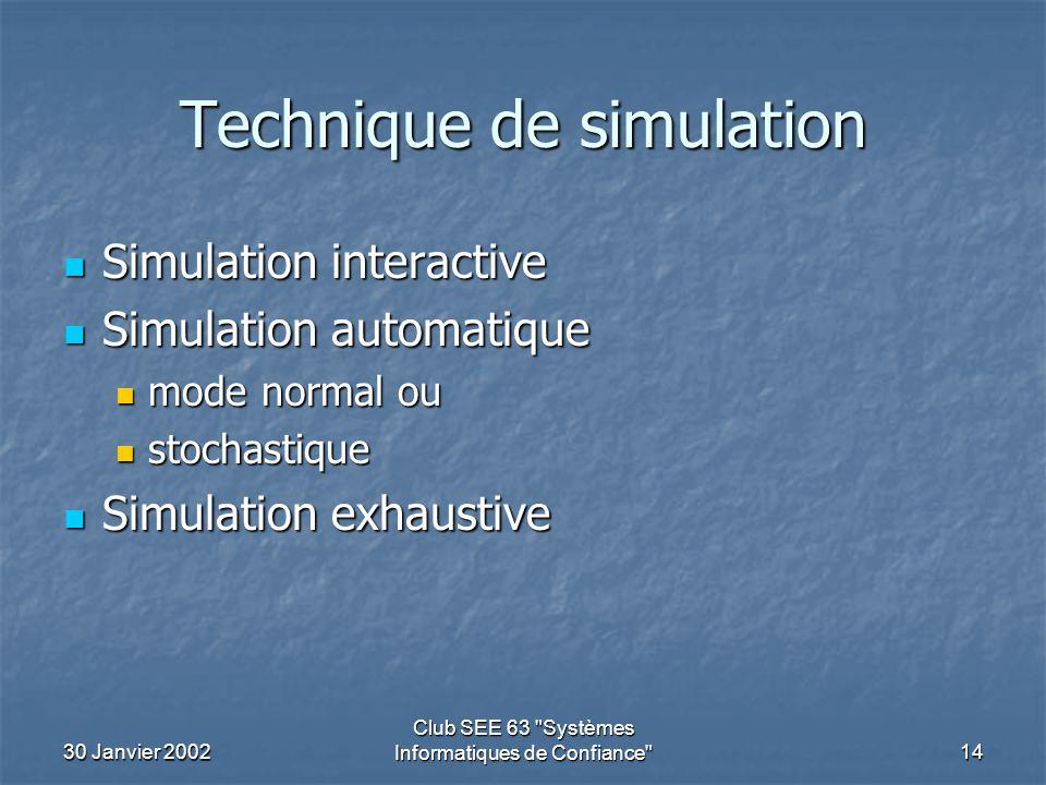 30 Janvier 2002 Club SEE 63 Systèmes Informatiques de Confiance 14 Technique de simulation Simulation interactive Simulation interactive Simulation automatique Simulation automatique mode normal ou mode normal ou stochastique stochastique Simulation exhaustive Simulation exhaustive