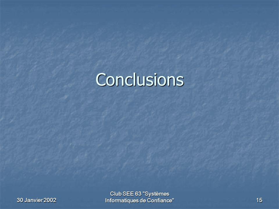 30 Janvier 2002 Club SEE 63 Systèmes Informatiques de Confiance 15 Conclusions