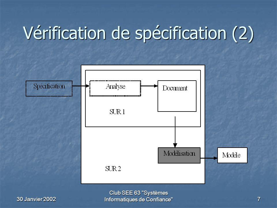30 Janvier 2002 Club SEE 63 Systèmes Informatiques de Confiance 7 Vérification de spécification (2)