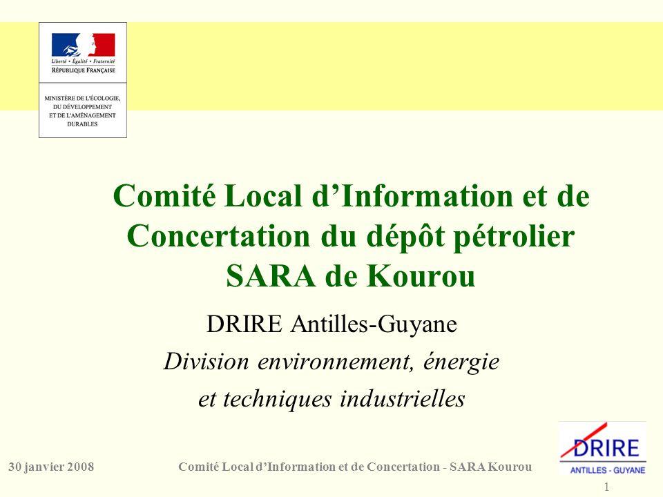 1 Comité Local d'Information et de Concertation - SARA Kourou30 janvier 2008 Comité Local d'Information et de Concertation du dépôt pétrolier SARA de Kourou DRIRE Antilles-Guyane Division environnement, énergie et techniques industrielles