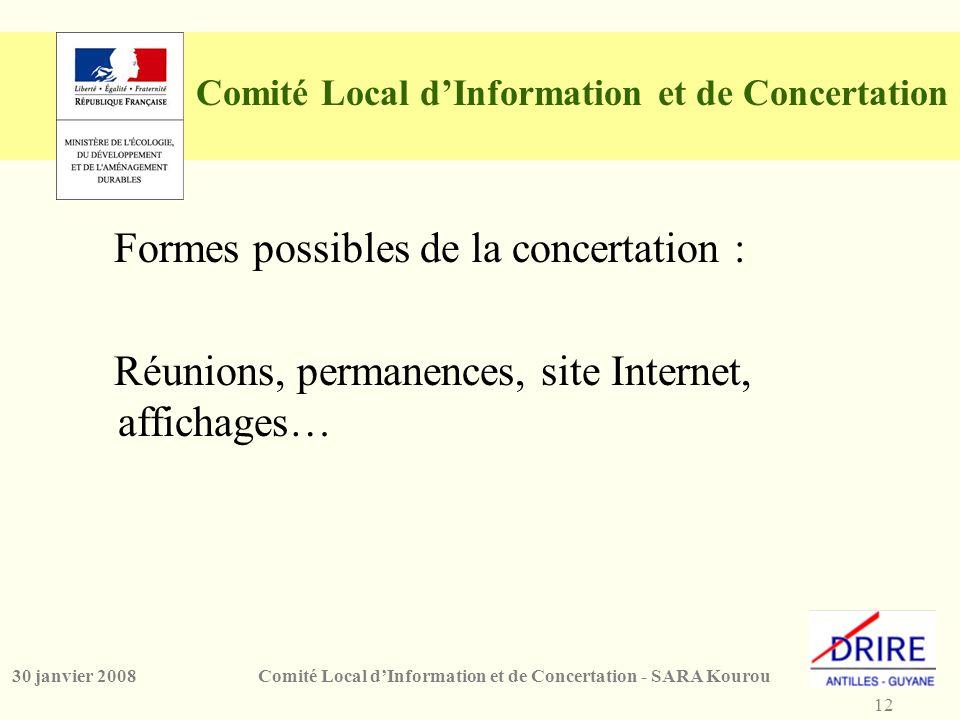 12 Comité Local d'Information et de Concertation - SARA Kourou30 janvier 2008 Comité Local d'Information et de Concertation Formes possibles de la concertation : Réunions, permanences, site Internet, affichages…