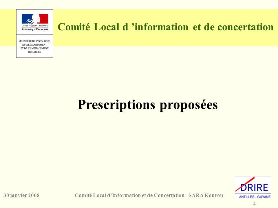 4 Comité Local d'Information et de Concertation - SARA Kourou30 janvier 2008 Comité Local d 'information et de concertation Prescriptions proposées