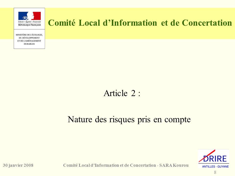 8 Comité Local d'Information et de Concertation - SARA Kourou30 janvier 2008 Comité Local d'Information et de Concertation Article 2 : Nature des risques pris en compte