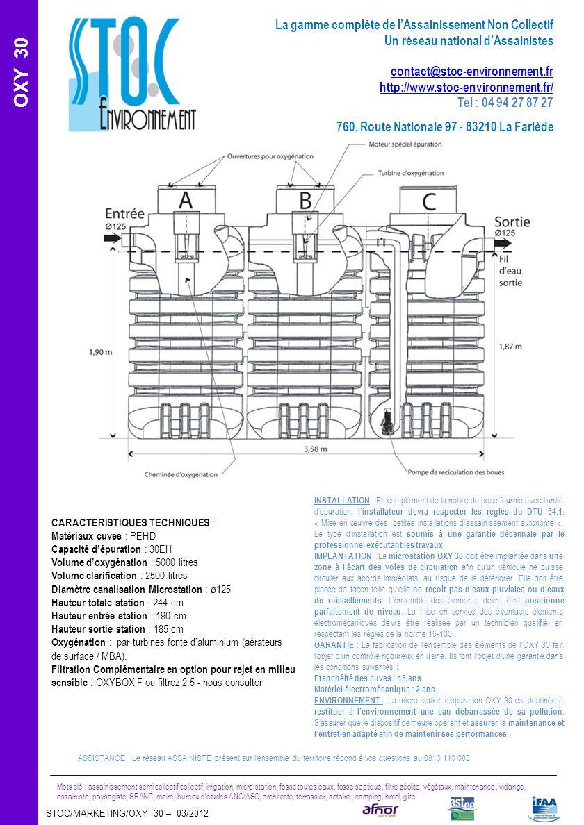 STOC/MARKETING/OXY 30 – 03/2012 Mots clé : assainissement semi collectif collectif, irrigation, micro-station, fosse toutes eaux, fosse septique, filt