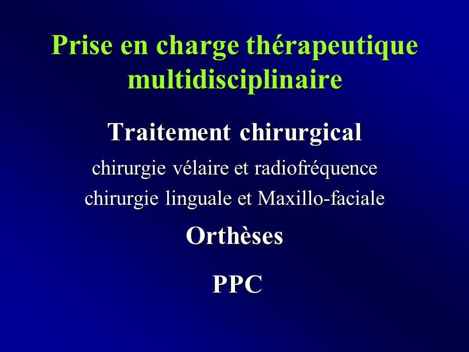 Prise en charge thérapeutique multidisciplinaire Traitement chirurgical chirurgie vélaire et radiofréquence chirurgie linguale et Maxillo-faciale Orthèses PPC