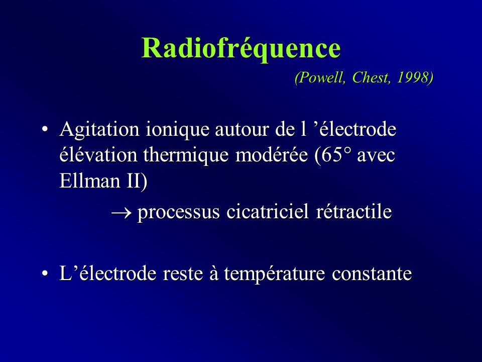 Radiofréquence Agitation ionique autour de l 'électrode  élévation thermique modérée (65° avec Ellman II)Agitation ionique autour de l 'électrode  élévation thermique modérée (65° avec Ellman II)  processus cicatriciel rétractile L'électrode reste à température constanteL'électrode reste à température constante (Powell, Chest, 1998)