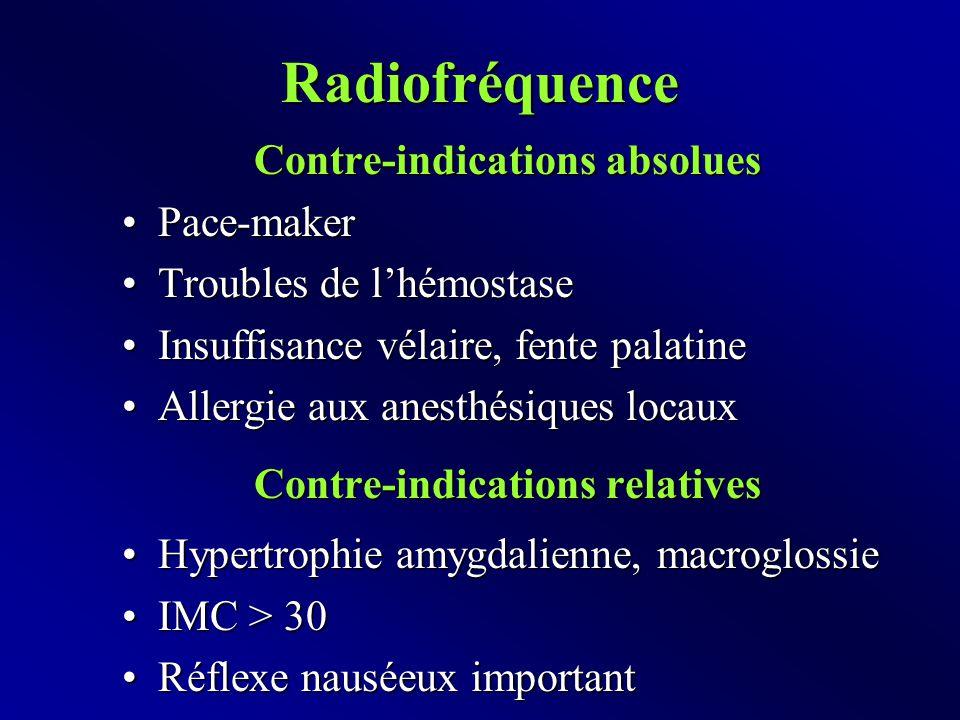 Radiofréquence Contre-indications absolues Pace-makerPace-maker Troubles de l'hémostaseTroubles de l'hémostase Insuffisance vélaire, fente palatineInsuffisance vélaire, fente palatine Allergie aux anesthésiques locauxAllergie aux anesthésiques locaux Contre-indications relatives Hypertrophie amygdalienne, macroglossieHypertrophie amygdalienne, macroglossie IMC > 30IMC > 30 Réflexe nauséeux importantRéflexe nauséeux important