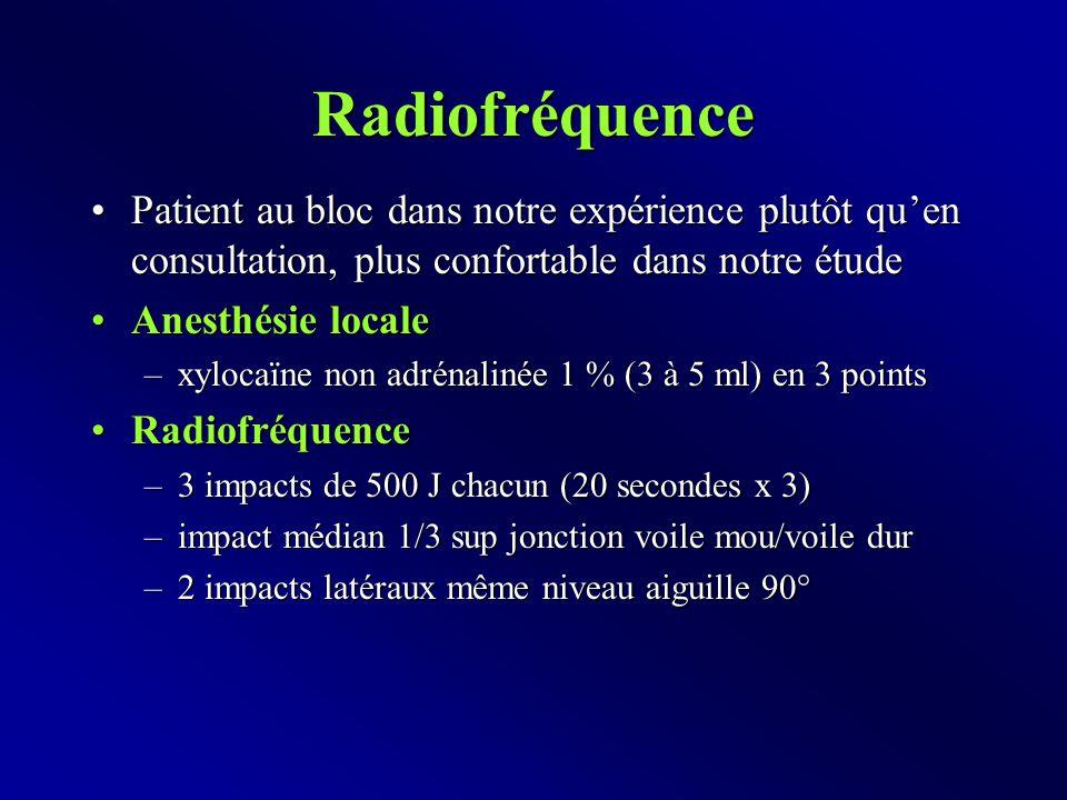 Radiofréquence Patient au bloc dans notre expérience plutôt qu'en consultation, plus confortable dans notre étudePatient au bloc dans notre expérience plutôt qu'en consultation, plus confortable dans notre étude Anesthésie localeAnesthésie locale –xylocaïne non adrénalinée 1 % (3 à 5 ml) en 3 points RadiofréquenceRadiofréquence –3 impacts de 500 J chacun (20 secondes x 3) –impact médian 1/3 sup jonction voile mou/voile dur –2 impacts latéraux même niveau aiguille 90°