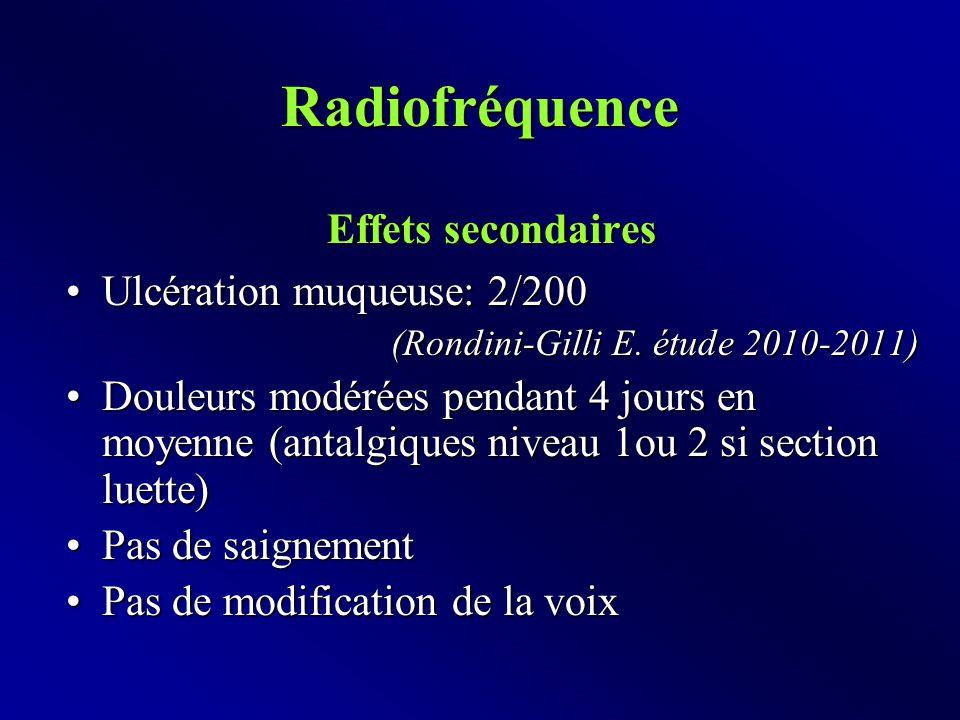 Radiofréquence Effets secondaires Ulcération muqueuse: 2/200Ulcération muqueuse: 2/200 (Rondini-Gilli E.