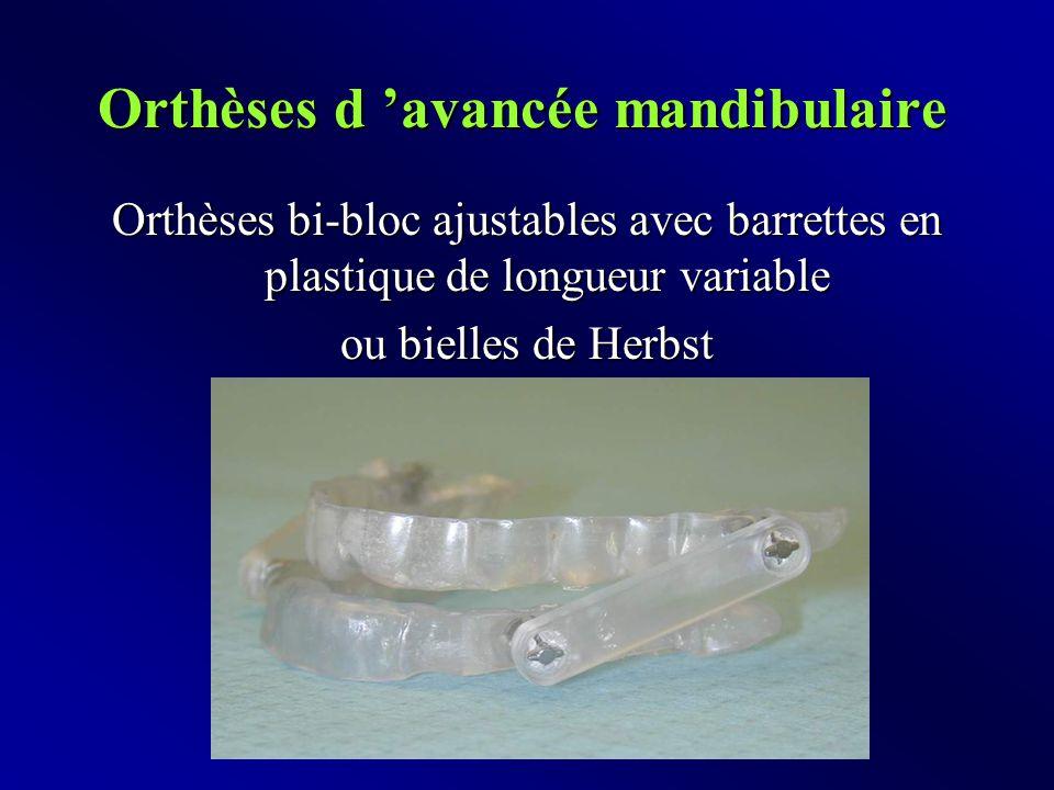 Orthèses d 'avancée mandibulaire Orthèses bi-bloc ajustables avec barrettes en plastique de longueur variable ou bielles de Herbst