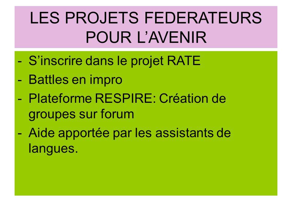 LES PROJETS FEDERATEURS POUR L'AVENIR -S'inscrire dans le projet RATE -Battles en impro -Plateforme RESPIRE: Création de groupes sur forum -Aide apportée par les assistants de langues.