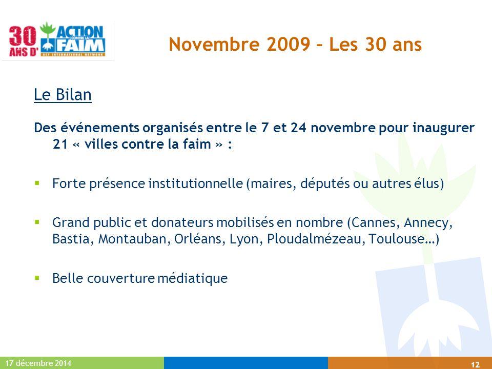17 décembre 2014 12 Novembre 2009 – Les 30 ans Le Bilan Des événements organisés entre le 7 et 24 novembre pour inaugurer 21 « villes contre la faim »
