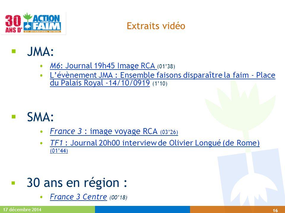 17 décembre 2014 16 Extraits vidéo  JMA: M6: Journal 19h45 Image RCA (01'38)M6: Journal 19h45 Image RCA L'évènement JMA : Ensemble faisons disparaîtr
