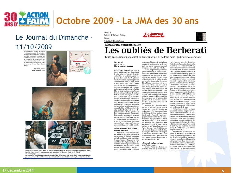 17 décembre 2014 16 Extraits vidéo  JMA: M6: Journal 19h45 Image RCA (01'38)M6: Journal 19h45 Image RCA L'évènement JMA : Ensemble faisons disparaître la faim - Place du Palais Royal -14/10/0919 (1'10)L'évènement JMA : Ensemble faisons disparaître la faim - Place du Palais Royal -14/10/0919  SMA: France 3 : image voyage RCA (03'26)France 3 : image voyage RCA (03'26) TF1 : Journal 20h00 interview de Olivier Longué (de Rome) (01'44)TF1 : Journal 20h00 interview de Olivier Longué (de Rome) (01'44)  30 ans en région : France 3 Centre (00'18)France 3 Centre