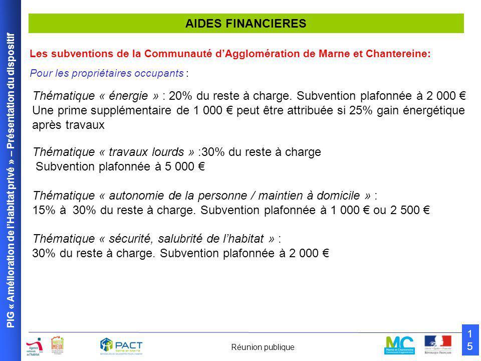 PIG « Amélioration de l'Habitat privé » – Présentation du dispositif 1515 Réunion publique AIDES FINANCIERES Les subventions de la Communauté d'Agglomération de Marne et Chantereine: Pour les propriétaires occupants : Thématique « énergie » : 20% du reste à charge.