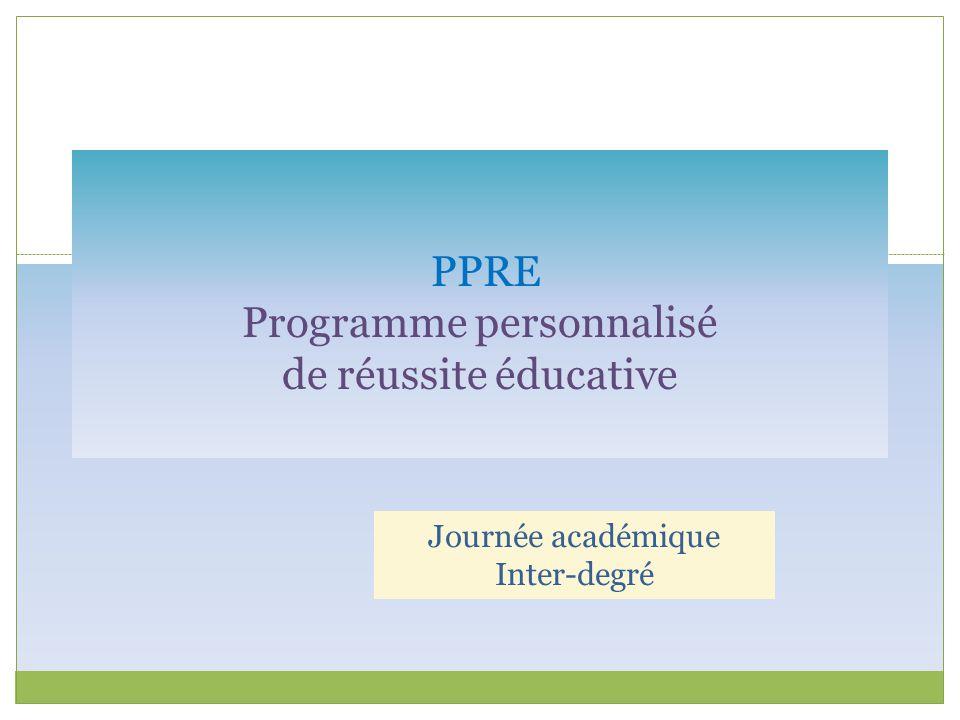 PPRE Programme personnalisé de réussite éducative Journée académique Inter-degré