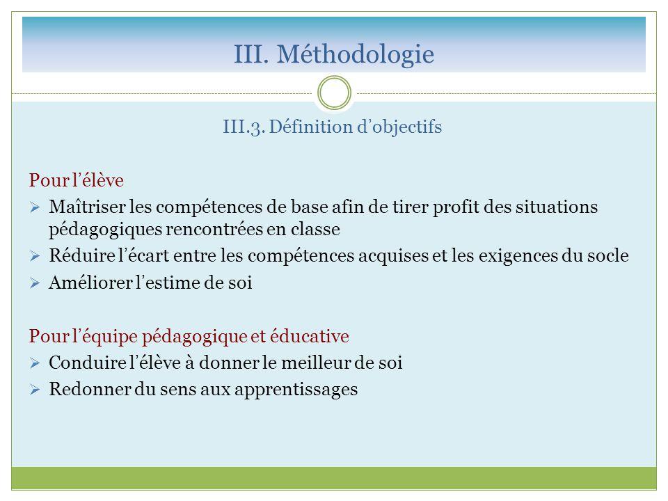 III. Méthodologie III.3. Définition d'objectifs Pour l'élève  Maîtriser les compétences de base afin de tirer profit des situations pédagogiques renc