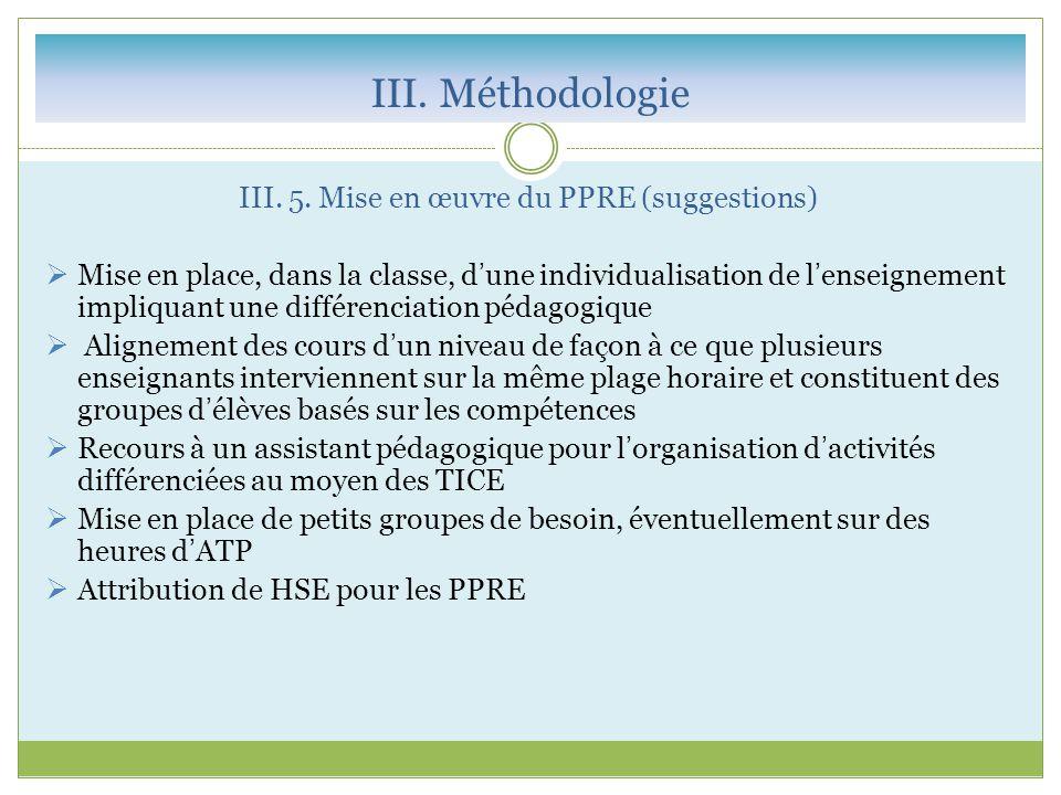 III. Méthodologie III. 5. Mise en œuvre du PPRE (suggestions)  Mise en place, dans la classe, d'une individualisation de l'enseignement impliquant un