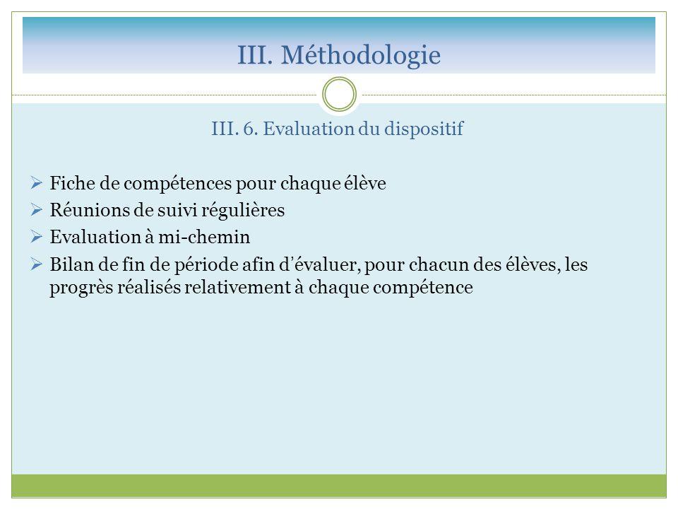 III. 6. Evaluation du dispositif  Fiche de compétences pour chaque élève  Réunions de suivi régulières  Evaluation à mi-chemin  Bilan de fin de pé
