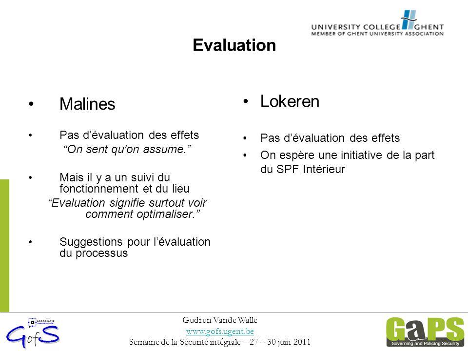 """Evaluation Malines Pas d'évaluation des effets """"On sent qu'on assume."""" Mais il y a un suivi du fonctionnement et du lieu """"Evaluation signifie surtout"""