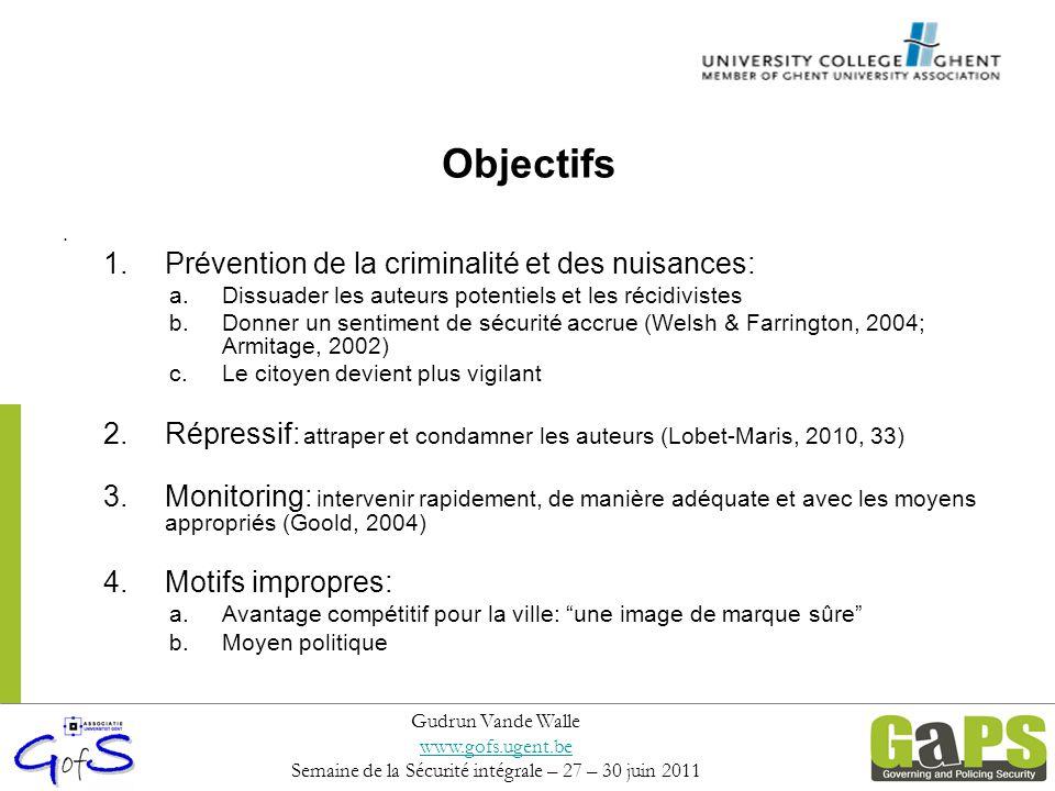 Objectifs 1.Prévention de la criminalité et des nuisances: a.Dissuader les auteurs potentiels et les récidivistes b.Donner un sentiment de sécurité ac