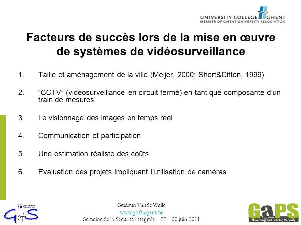 Facteurs de succès lors de la mise en œuvre de systèmes de vidéosurveillance 1.Taille et aménagement de la ville (Meijer, 2000; Short&Ditton, 1999) 2.