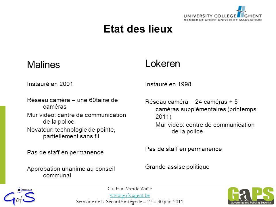 Malines Instauré en 2001 Réseau caméra – une 60taine de caméras Mur vidéo: centre de communication de la police Novateur: technologie de pointe, parti