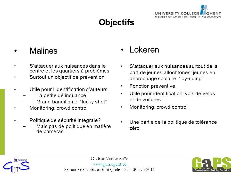 Objectifs Malines S'attaquer aux nuisances dans le centre et les quartiers à problèmes Surtout un objectif de prévention Utile pour l'identification d