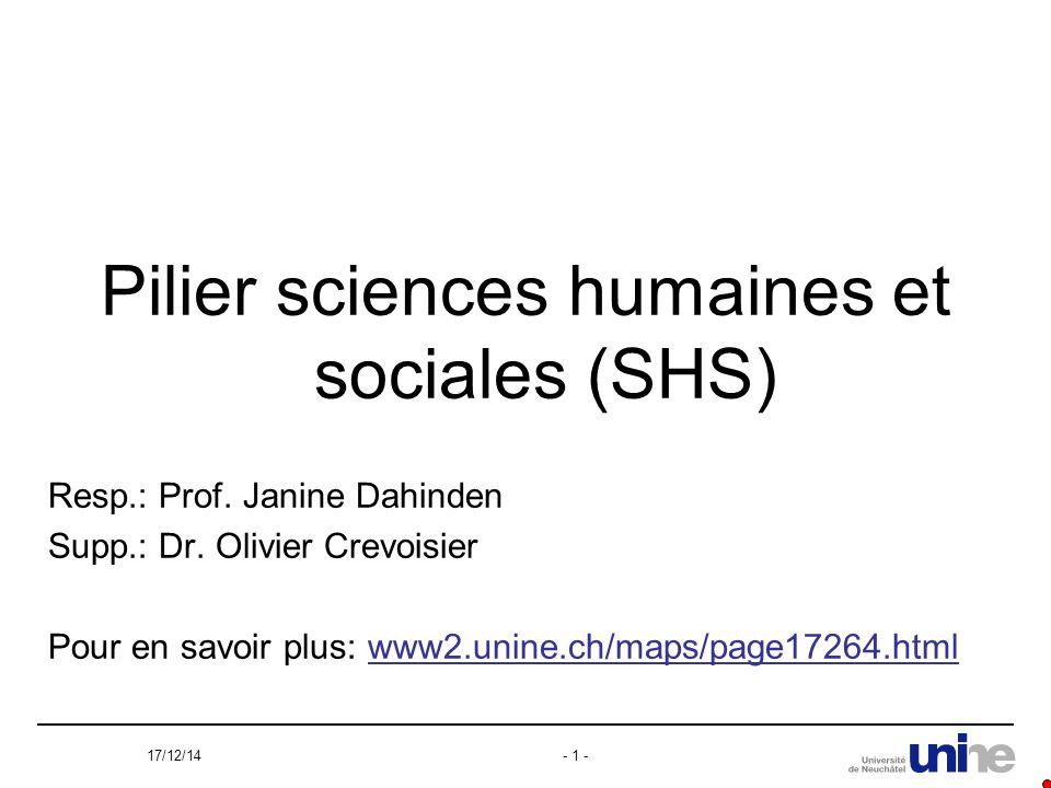 17/12/14- 1 - Pilier sciences humaines et sociales (SHS) Resp.: Prof.