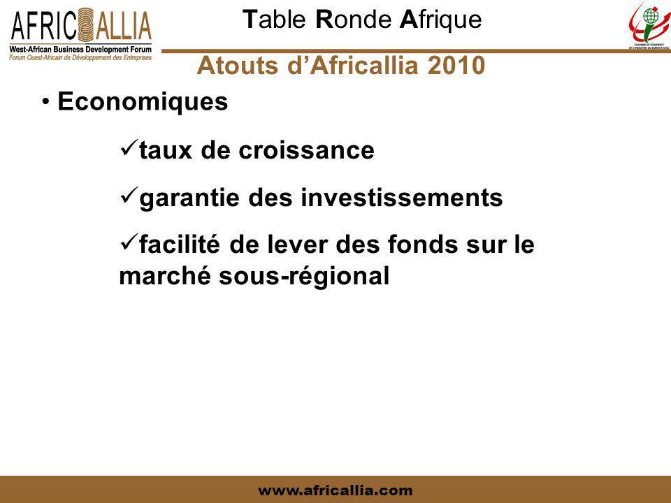 Table Ronde Afrique www.africallia.com Atouts d'Africallia 2010 Economiques taux de croissance garantie des investissements facilité de lever des fonds sur le marché sous-régional
