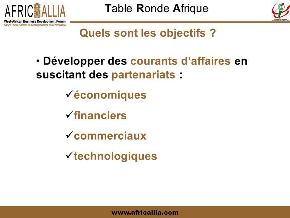 Table Ronde Afrique www.africallia.com Quels sont les objectifs ? Développer des courants d'affaires en suscitant des partenariats : économiques finan