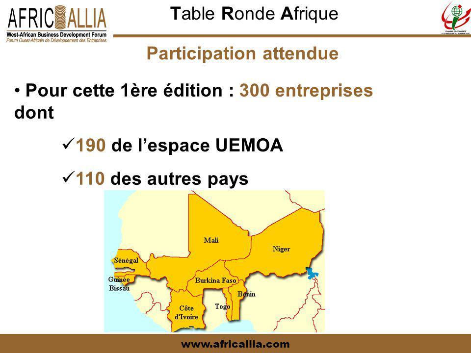 Table Ronde Afrique www.africallia.com Participation attendue Pour cette 1ère édition : 300 entreprises dont 190 de l'espace UEMOA 110 des autres pays