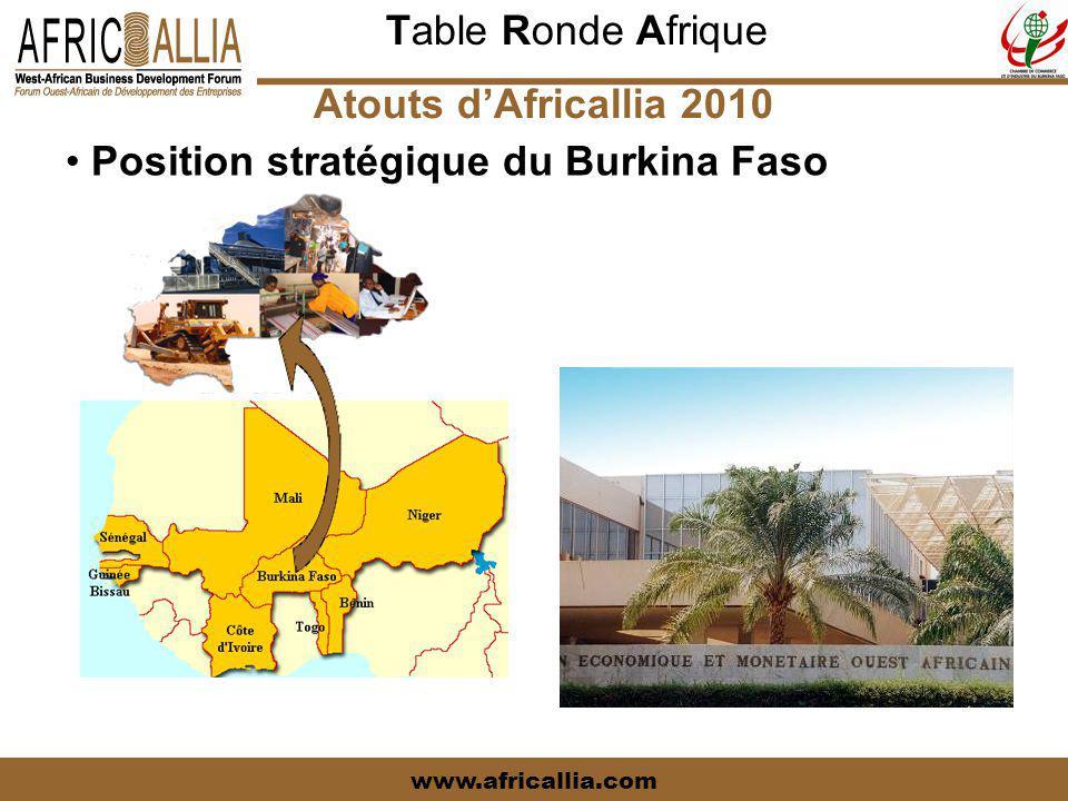 Table Ronde Afrique www.africallia.com PROFIL DU BURKINA-FASO Atouts d'Africallia 2010 Position stratégique du Burkina Faso