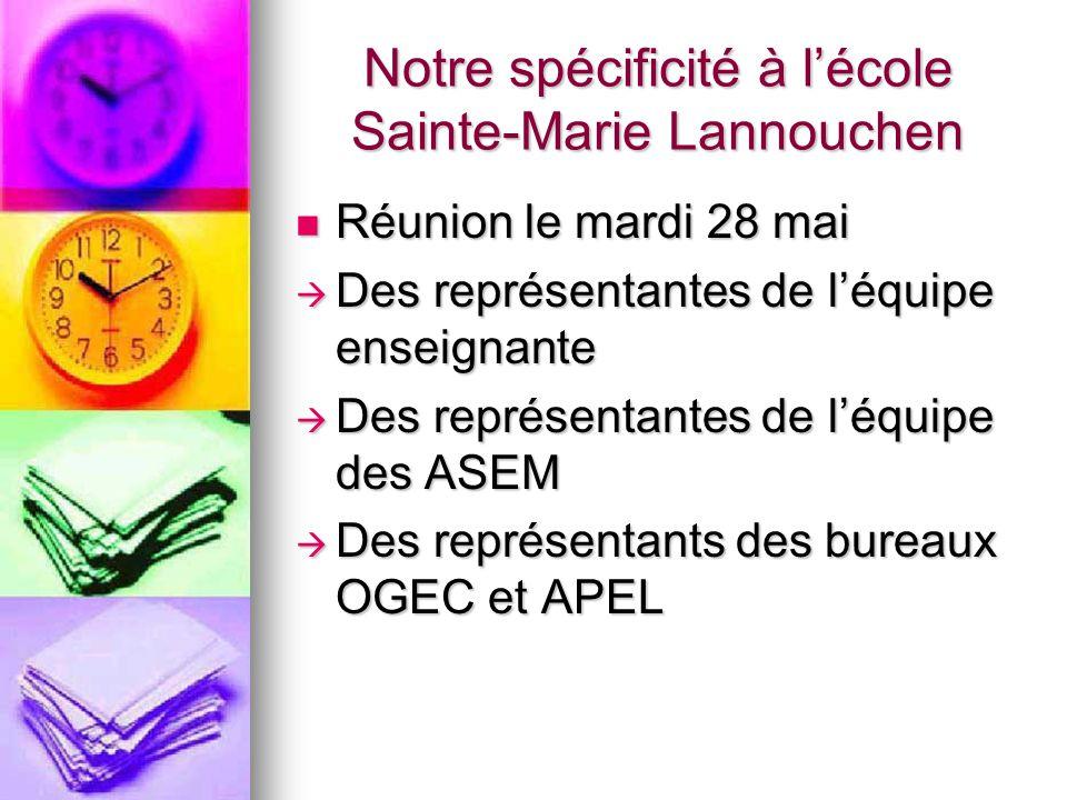 Notre spécificité à l'école Sainte-Marie Lannouchen Réunion le mardi 28 mai Réunion le mardi 28 mai  Des représentantes de l'équipe enseignante  Des représentantes de l'équipe des ASEM  Des représentants des bureaux OGEC et APEL