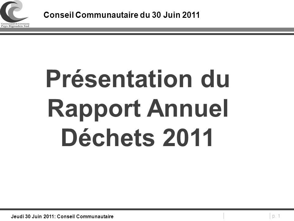 p. 1 Jeudi 30 Juin 2011: Conseil Communautaire Conseil Communautaire du 30 Juin 2011 Présentation du Rapport Annuel Déchets 2011