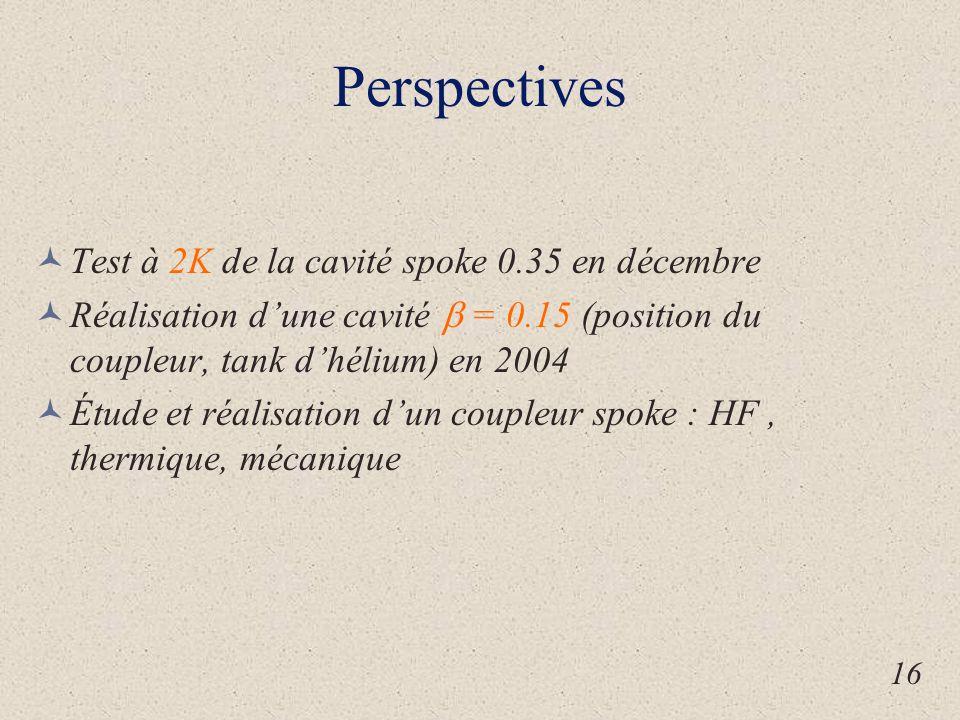 Perspectives Test à 2K de la cavité spoke 0.35 en décembre Réalisation d'une cavité  = 0.15 (position du coupleur, tank d'hélium) en 2004 Étude et réalisation d'un coupleur spoke : HF, thermique, mécanique 16