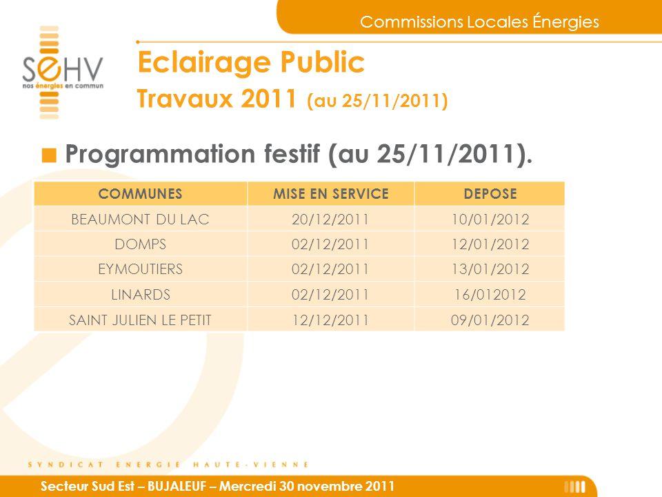 Commissions Locales Énergies Secteur Sud Est – BUJALEUF – Mercredi 30 novembre 2011 Eclairage Public Travaux 2011 (au 25/11/2011) ■ Programmation festif (au 25/11/2011).