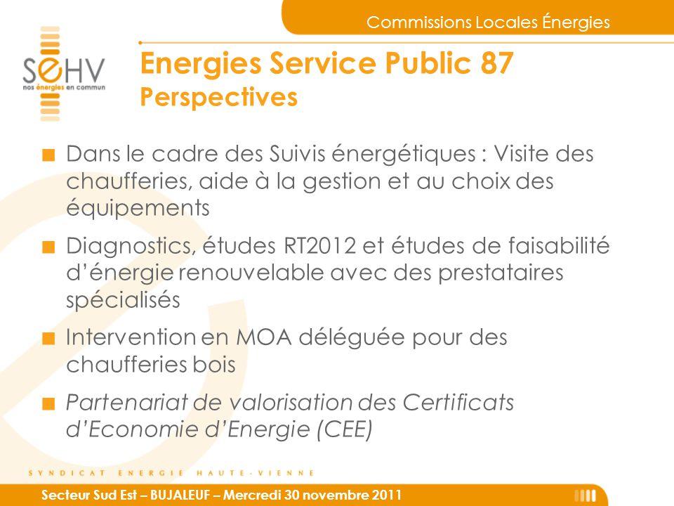Commissions Locales Énergies Secteur Sud Est – BUJALEUF – Mercredi 30 novembre 2011 Energies Service Public 87 Perspectives ■ Dans le cadre des Suivis