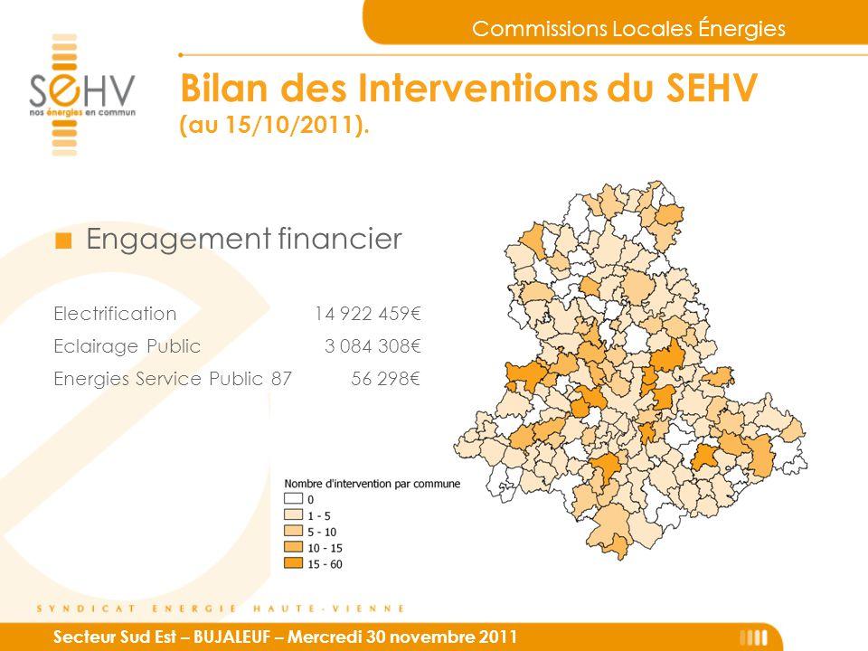Commissions Locales Énergies Secteur Sud Est – BUJALEUF – Mercredi 30 novembre 2011 Bilan des Interventions du SEHV (au 15/10/2011). ■ Engagement fina