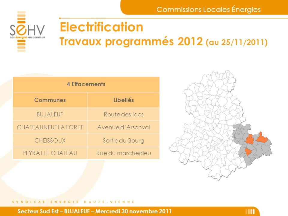 Commissions Locales Énergies Secteur Sud Est – BUJALEUF – Mercredi 30 novembre 2011 Electrification Travaux programmés 2012 (au 25/11/2011) 4 Effaceme