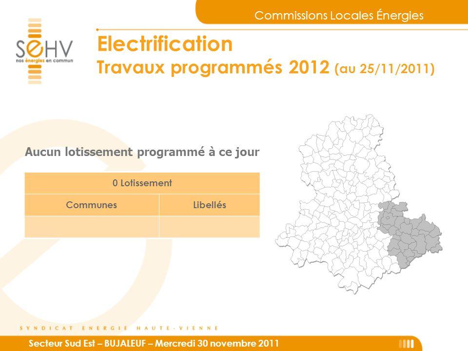 Commissions Locales Énergies Secteur Sud Est – BUJALEUF – Mercredi 30 novembre 2011 Electrification Travaux programmés 2012 (au 25/11/2011) 0 Lotissement CommunesLibellés Aucun lotissement programmé à ce jour