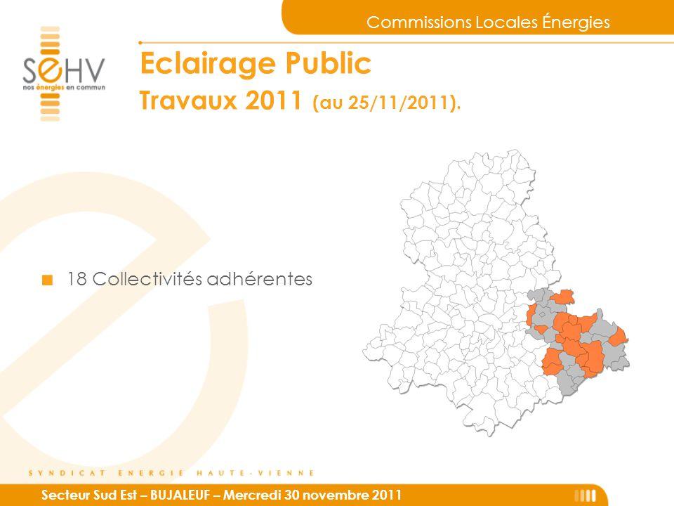 Commissions Locales Énergies Secteur Sud Est – BUJALEUF – Mercredi 30 novembre 2011 Eclairage Public Travaux 2011 (au 25/11/2011). ■ 18 Collectivités