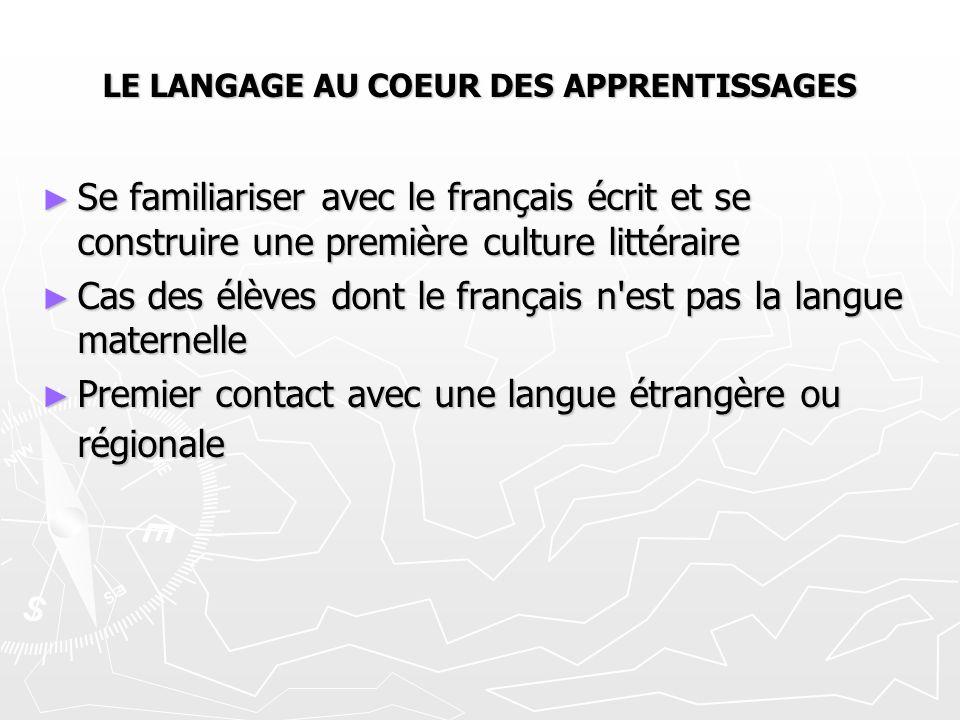 LE LANGAGE AU COEUR DES APPRENTISSAGES ► Se familiariser avec le français écrit et se construire une première culture littéraire ► Cas des élèves dont