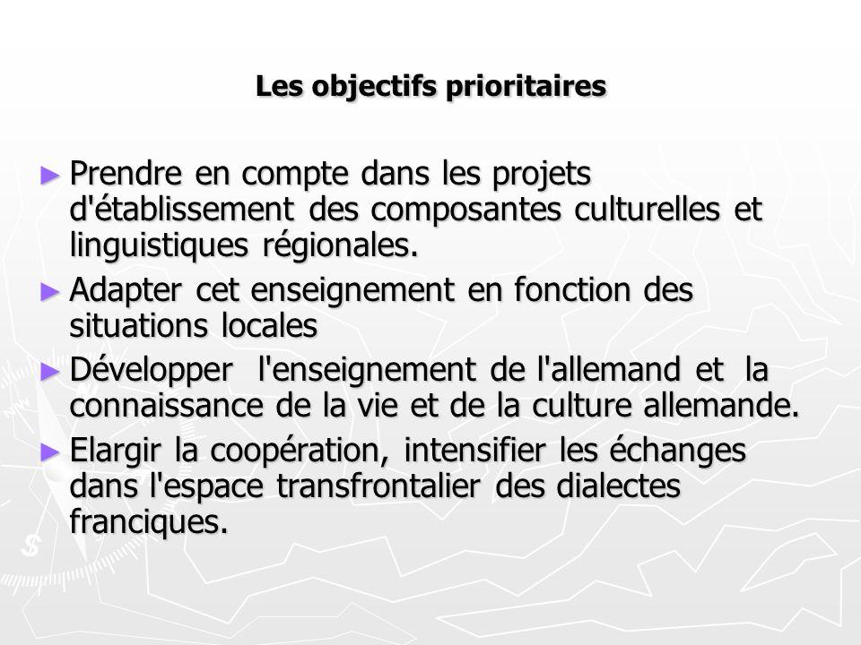 Les objectifs prioritaires ► Prendre en compte dans les projets d'établissement des composantes culturelles et linguistiques régionales. ► Adapter cet