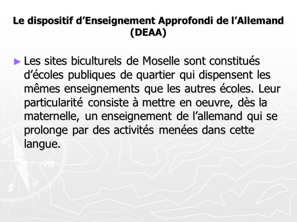 Le dispositif d'Enseignement Approfondi de l'Allemand (DEAA) ► Les sites biculturels de Moselle sont constitués d'écoles publiques de quartier qui dispensent les mêmes enseignements que les autres écoles.