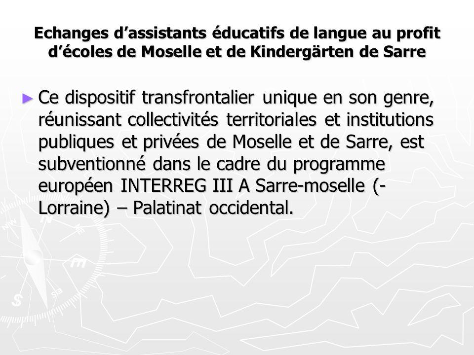 Echanges d'assistants éducatifs de langue au profit d'écoles de Moselle et de Kindergärten de Sarre ► Ce dispositif transfrontalier unique en son genr