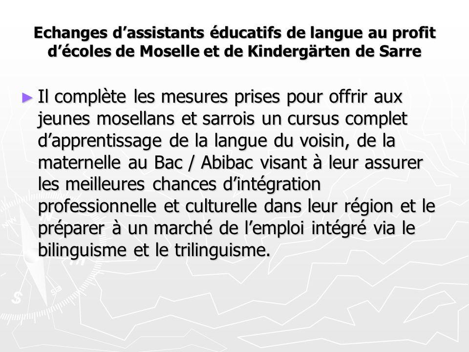 Echanges d'assistants éducatifs de langue au profit d'écoles de Moselle et de Kindergärten de Sarre ► Il complète les mesures prises pour offrir aux j